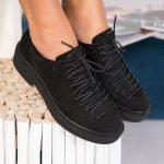 Pantofi Casual Dama Piele Ecologica Intoarsa Negri Beyo B9675
