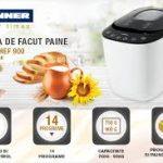 HEINNER Masina de paine, Heinner, 550 W, 750-900 gr, HBM-900WHBK, Alb